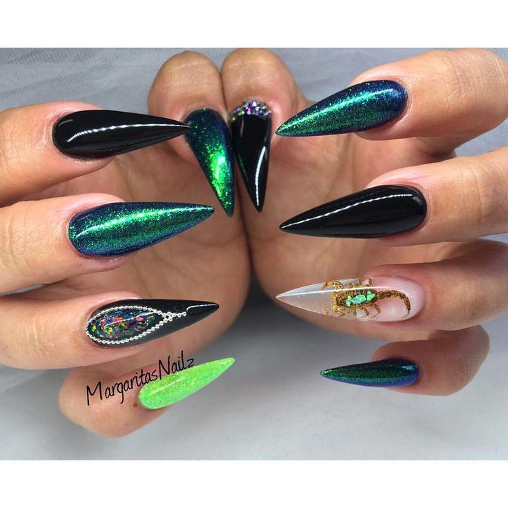 Black And Green Stiletto Nails Real Scorpion Nail Art Summer 2016 Design