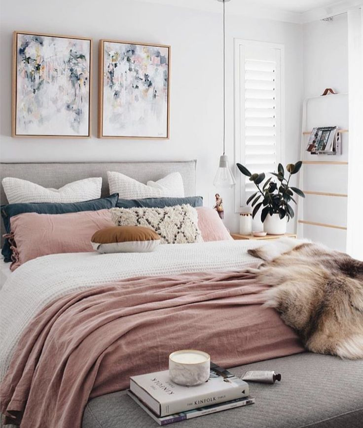 A chic modern bedroom with a white  gray and blush pink color scheme The faux fur throw adds touch of glamour to this contemporary girly room Unique 19 best wOke images on Pinterest Master bedrooms Good night