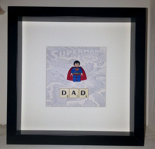 Lego Superman personalised picture frame for Fathers day, My hero, Superhero Marvel, DCcomics, comicbook, dad ,men, man, gift idea