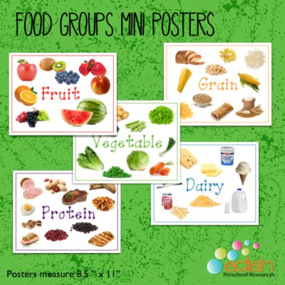 Food Group Posters from edlah Preschool Resources  on TeachersNotebook.com -  (5 pages)  - 5 Food Groups Posters. Full Color. Simple enough for Preschool!