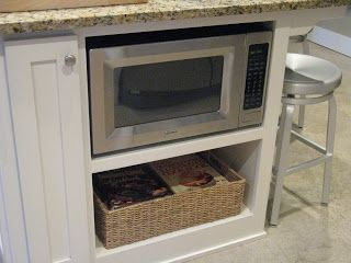 Under counter shelves for microwave and storage basket