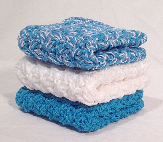 Cotton Crochet Washcloth Set  Ocean Waves by DapperCatDesigns