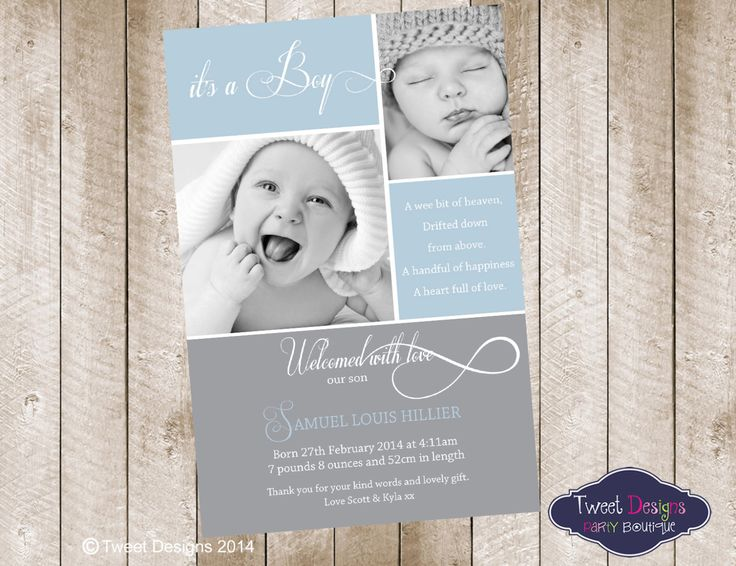 Baby Swashes Printable Birth Announcement by TweetPartyBoutique