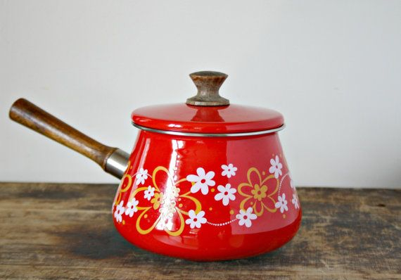 Vintage Red Enamel Floral Fondue Pot with Wood Handle, Mod Flower Power Small Sauce pan