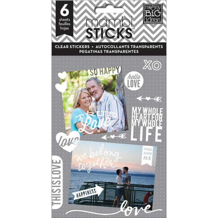 True Love Clear Stickers 6 Sheet 204 piece booklet by Me & My Big Ideas