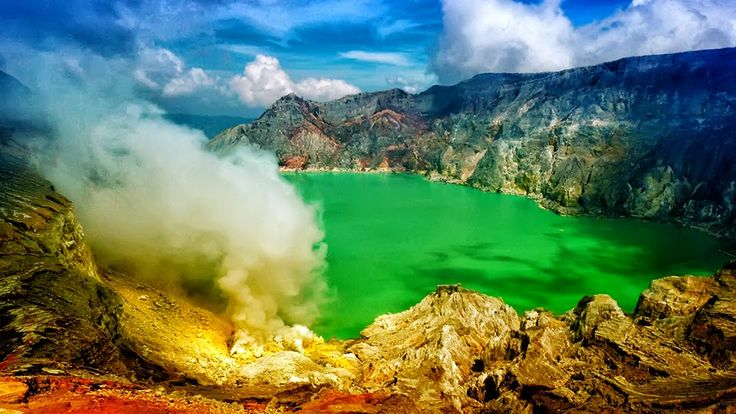 "Ijen Crater With Phenomenon ""BLUE FIRE"" 