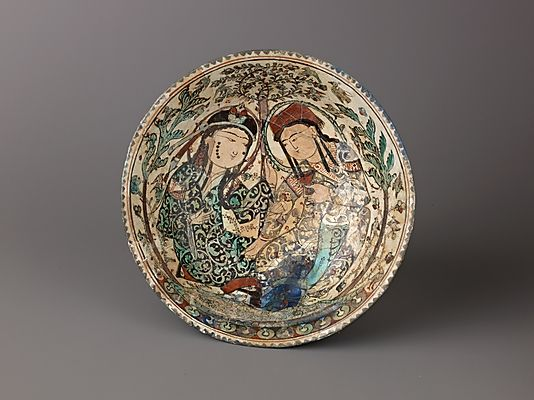 """Bowl, Mina'i (""""enameled"""") ware    Date:      late 12th–early 13th century  Culture:      Iran  Medium:      Composite body, stain-and overglaze-painted  Dimensions:      Diameter: 7 3/8 in. (18.8 cm.)  Classification:      Ceramics"""