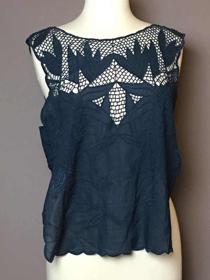 FREE PEOPLE Woman Cotton Top Shirt Midnight Blue Netting Open Sides Size L NWT #FreePeople #Blouse #Casual