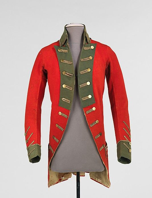 Military coat of the Connecticut Regiment,1776, American, wool, metal. This example of a uniform jacket worn by an officer during the American Revolution is completely hand-made. Owned by Col. William Taylor, it shows a significant amount of wear. Color, style and number of buttons are among the features used to identify one's military unit, or regiment, in this case Connecticut Regiment 1776.