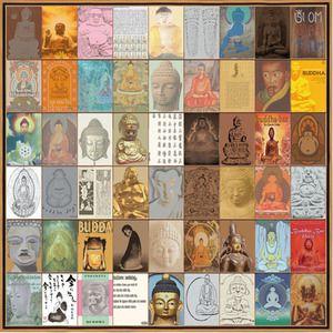 Boeddha 110 x 110 cm met houten lijst   Wanddecoratie   Woonkamer   WoonStore