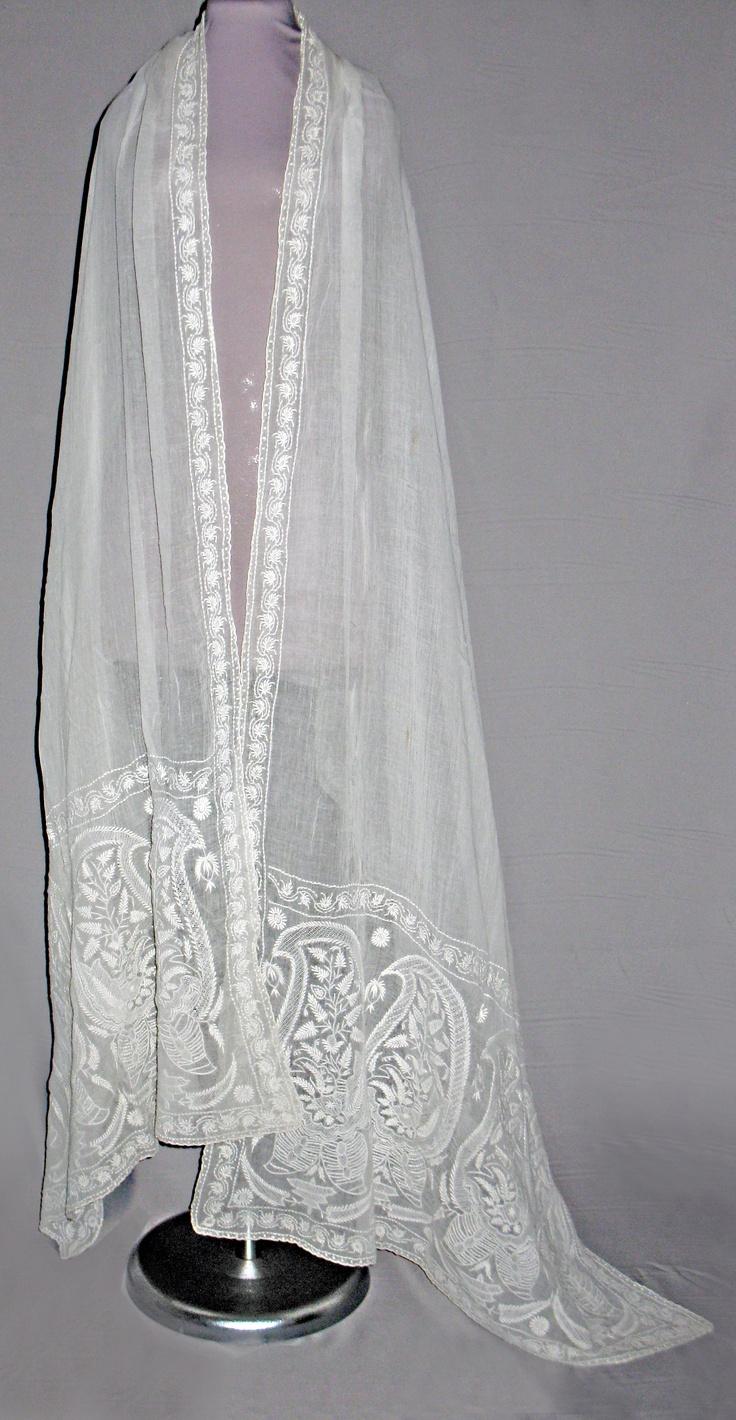 Shawl. Cotton muslin, white embroidery. India circa 1808.
