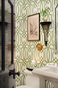 This wallpaper is available to order at Barry Wooley Designs! Perfect for a powder room!