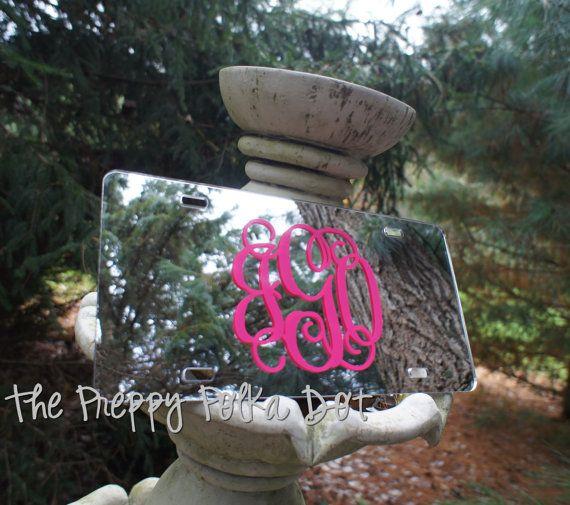 Custom Preppy Monogram Mirror License Plate by ThePreppyPolkaDot, $22.50