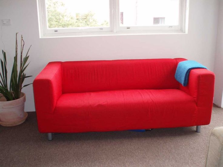 Pretty Red Color Scheme Fabric Sofa Design For Small Interior Apartment With Flat Style Rectangle Shaped Seat Cushions And Low Stainless Steel