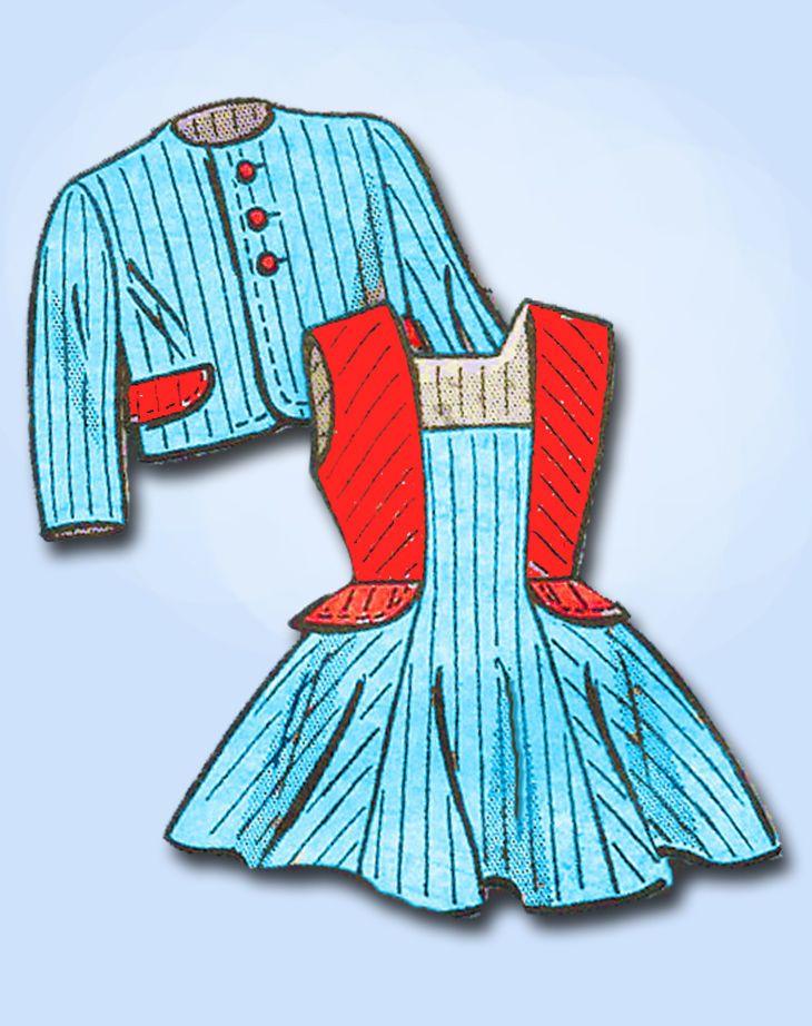 1950s Vintage Anne Adams Sewing Pattern 4621 Toddler Girls Jumper Dress Size 2…