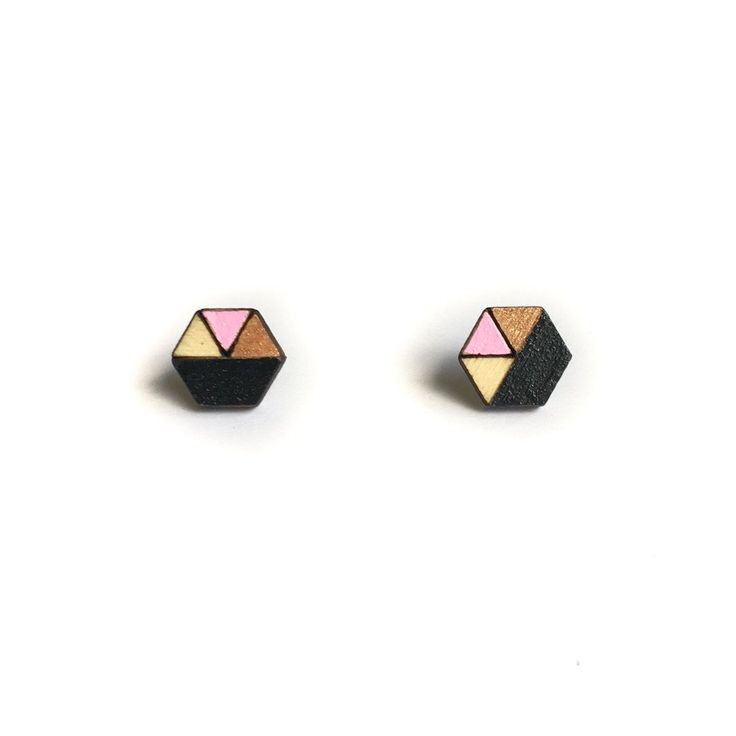 Amindy - Hand painted hexagon Sliced Earrings - Black, Dusty Pink and Bronze Glitter - $22 - Shop online at www.amindy.com.au