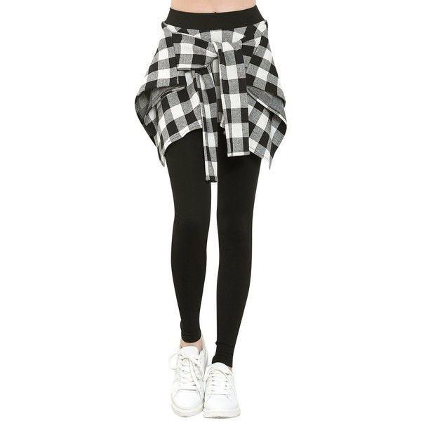 ililily Women Buffalo Checkered Casual Shirt Around Waist Skirt... ❤ liked on Polyvore featuring pants, leggings, checkered leggings, wide-waistband leggings, checkerboard leggings, checked pants and wide-leg pants