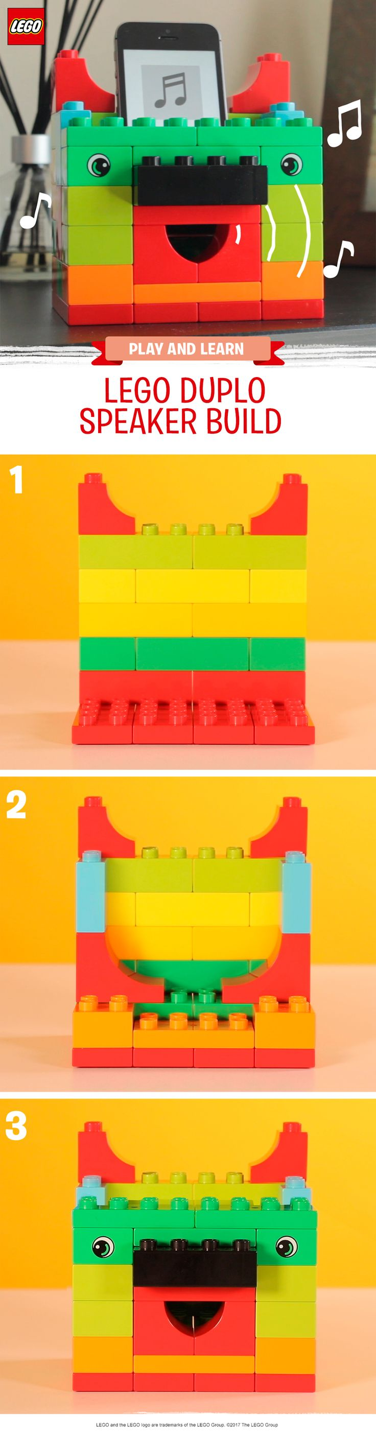 Did you know you can build an amplifier for your cell phone using LEGO DUPLO bricks? This is a fun STEM experiment for children, where they can start to learn about sound waves. Create a box out of LEGO DUPLO bricks, turn on some music and let your pre-schooler hear how the sound gets louder when you put the phone in the box. Make different shaped speakers and try to see which shape makes the loudest sound. Then, of course, make sure you have a dance party! Make it for yourself today.