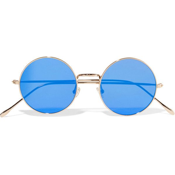 Illesteva Porto Cervo round-frame gold-tone mirrored sunglasses ($185) ❤ liked on Polyvore featuring accessories, eyewear, sunglasses, glasses, blue, round mirror sunglasses, illesteva sunglasses, round frame sunglasses, uv protection sunglasses and round sunglasses
