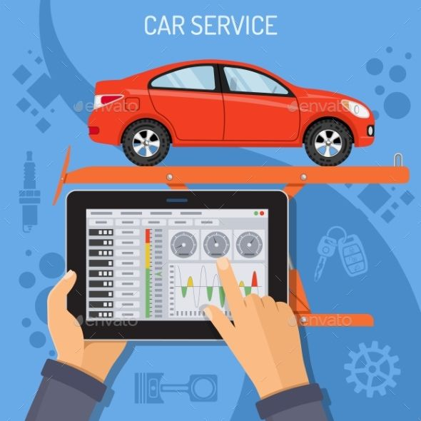 Car Service and Maintenance Concept by -TAlex- Car Service and Maintenance Concept with flat Icon lift and car. Mechanic holding tablet PC in hand, and makes diagnostics. vector