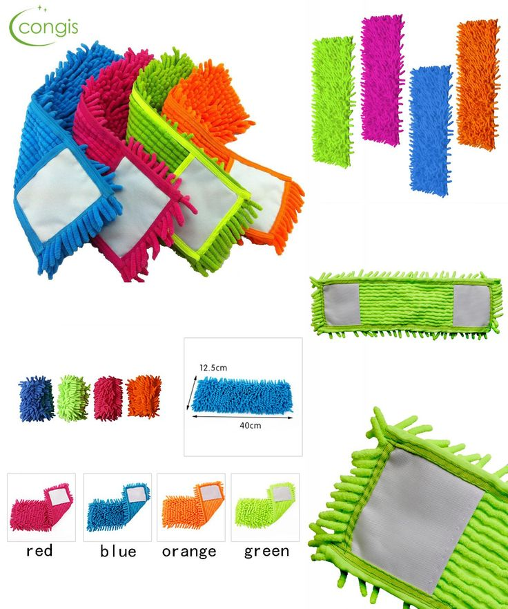 [Visit to Buy] Congis 4PCS/set 4 colors Chenille Mop Head Replace The Cloth , a Flat Mop Mop Head Replace Cloth Floor Clean Mop Accessories #Advertisement