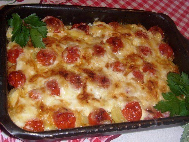 Vegetable casserole with meat.