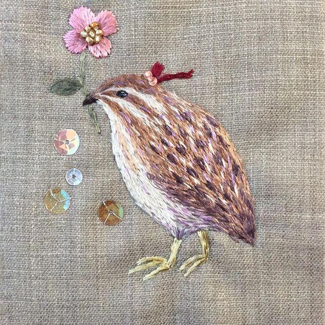 Embroidery quail. 大好きなウズラの刺繍です (私の理想や妄想入ってます 笑) 飼いたいけど、うちじゃ無理だー インコさんで精一杯!…