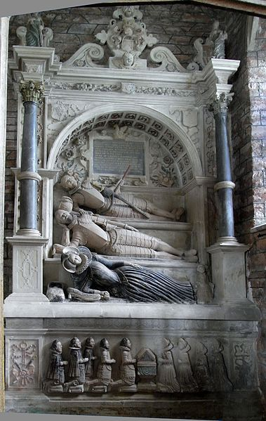Monument to Lord Edward Seymour (d.1593) of Berry Pomeroy, Devon. North wall of north aisle Seymour Chapel, Berry Pomeroy Church, Devon. Lord Edward is the topmost reclining effigy, below whom is his son Sir Edward Seymour, 1st Baronet (d.1613), and the latter's wife at the lowest level, Elizabeth Champernowne.