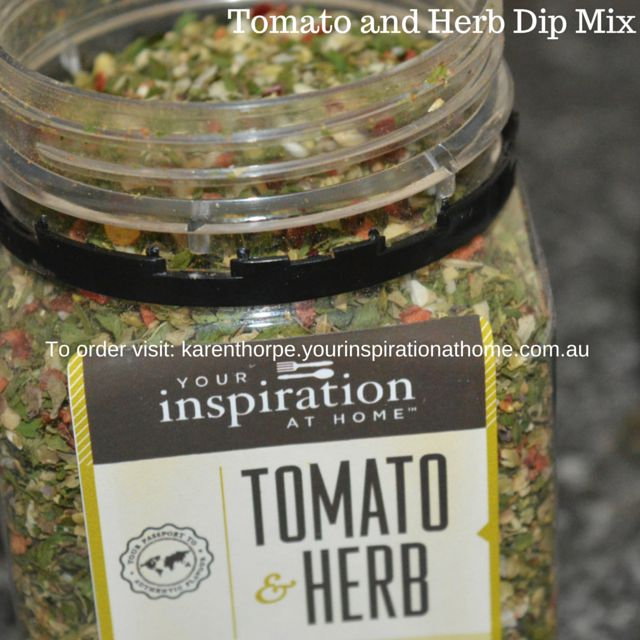 #yiah Tomato and Herb Dip MIx. No added gluten, preservatives, dairy, fillers, NO MSG, GMO. www.karenthorpe.yourinspirationathome.com.au. Available for people in AU/USA/CAN and NZ.