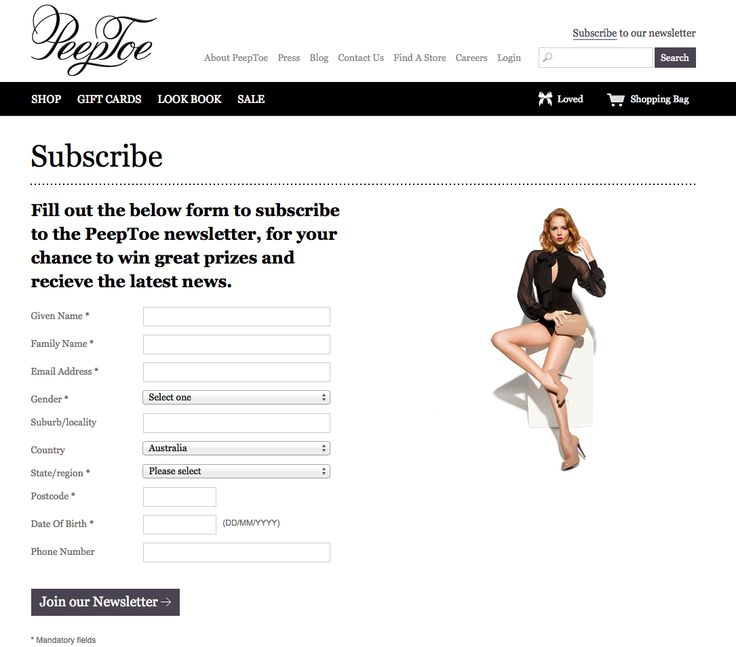 PeepToe - Subscribe Page