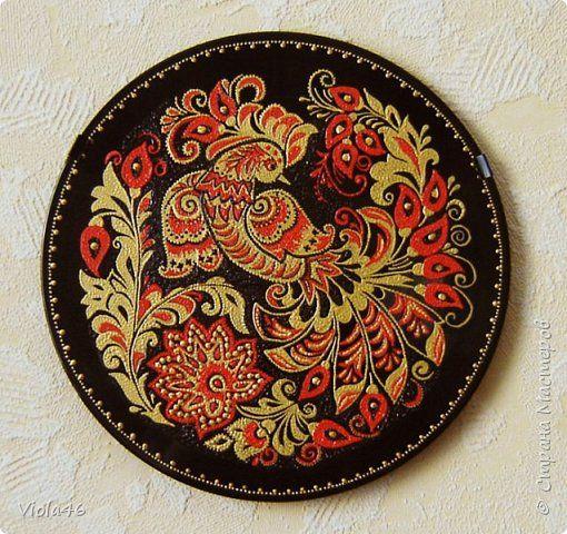 Декор предметов Картина панно рисунок Роспись Подражая хохломе Дерево Диски виниловые Краска фото 2