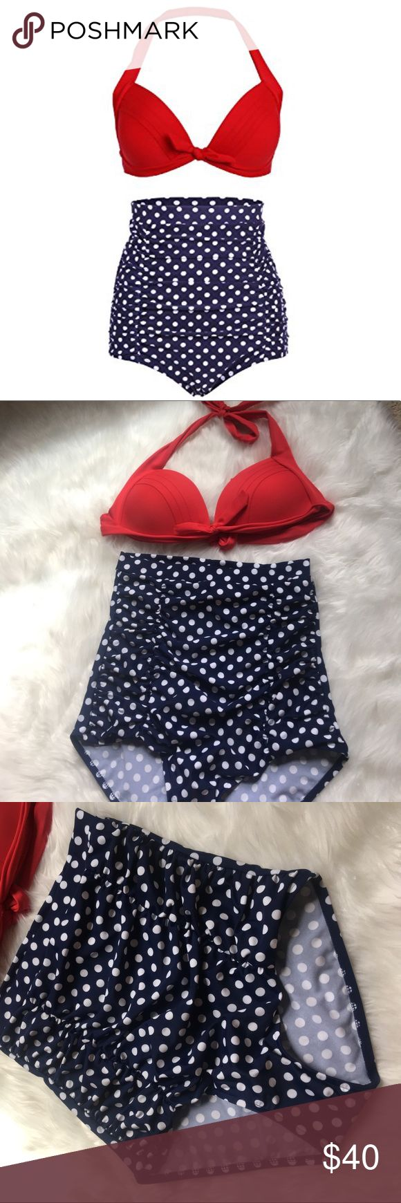 Cocoship Retro Red High Waisted Polka Dot Swimsuit Great condition, NWOT, slightly push-up, 20% off bundles, open to offers Cocoship Swim Bikinis