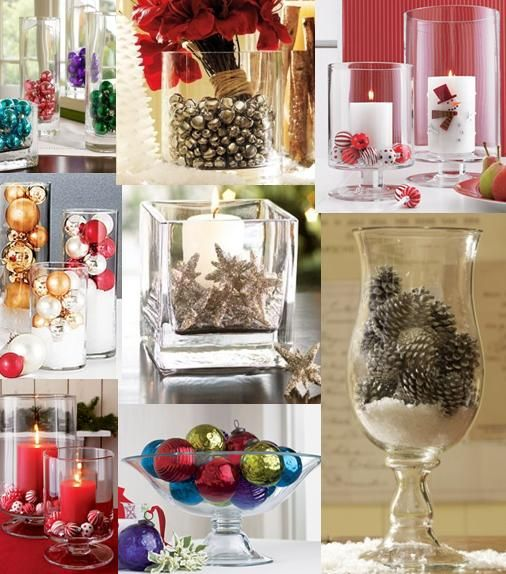 Christmas Vase fillers...love the jar filled with jingle bells