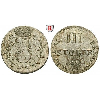 Jülich-Kleve-Berg, Großherzogtum Berg, Joachim Murat, 3 Stüber 1806, vz-st: Joachim Murat 1806-1808. Billon-3 Stüber 21 mm 1806… #coins