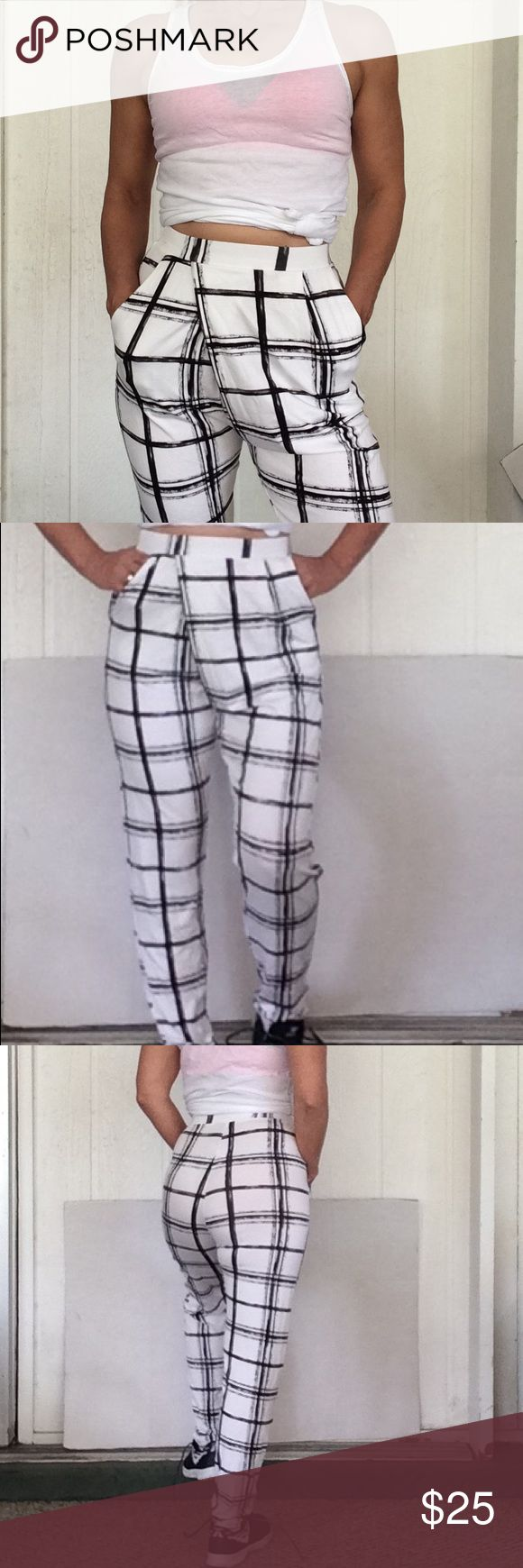 NWT ASOS JERSEY KNIT HAREM PANTS NWT ASOS harem tapered pants. Gorgeous drapey fabric blend of 97% viscose and 3% elastane. Graphic black and white patterned checks. Asymmetrical stitching in front harem style pants. Fuller cut at hip but tapers to ankle. High rise waist, side pockets, relaxed fit loose but not oversized. No flaws. ASOS Pants Track Pants & Joggers