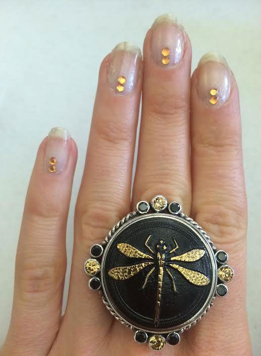 mars valentine vintage black gold dragonfly ring - Mars And Valentine