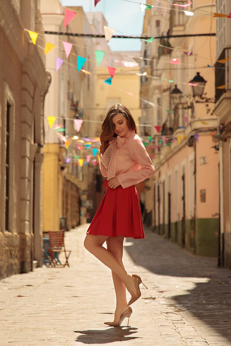El carnaval de Cadiz today on my blog in a pink organza shirt and red pleated skirt, both from Chicwish : http://larisacostea.com/2017/03/el-carnaval-de-cadiz/