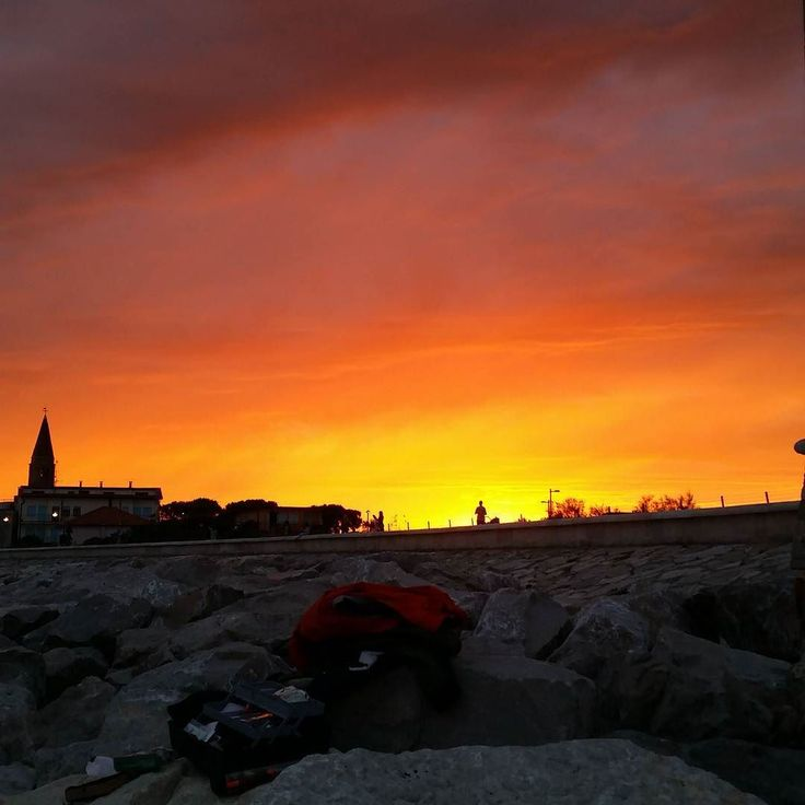 #Fishing #sunset #twilight #Caorle #faro #nofilters