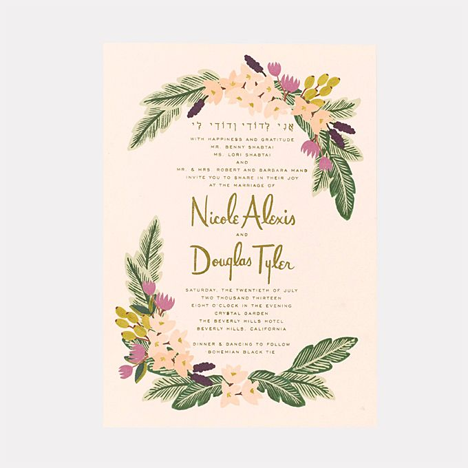 """Brides.com: 25 Creative Wedding Invitations for Every Style of Celebration. A Boho-Chic Gold-Foil Wedding Invitation. """"Beverly Hills"""" invitation, from $925 for 100, Rifle Paper Co."""