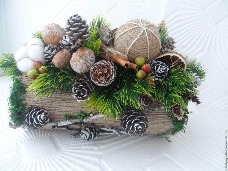 Купить Интерьерная новогодняя композиция в экостиле . - комбинированный, интерьерная композиция, композиция на стол, новогодний интерьер