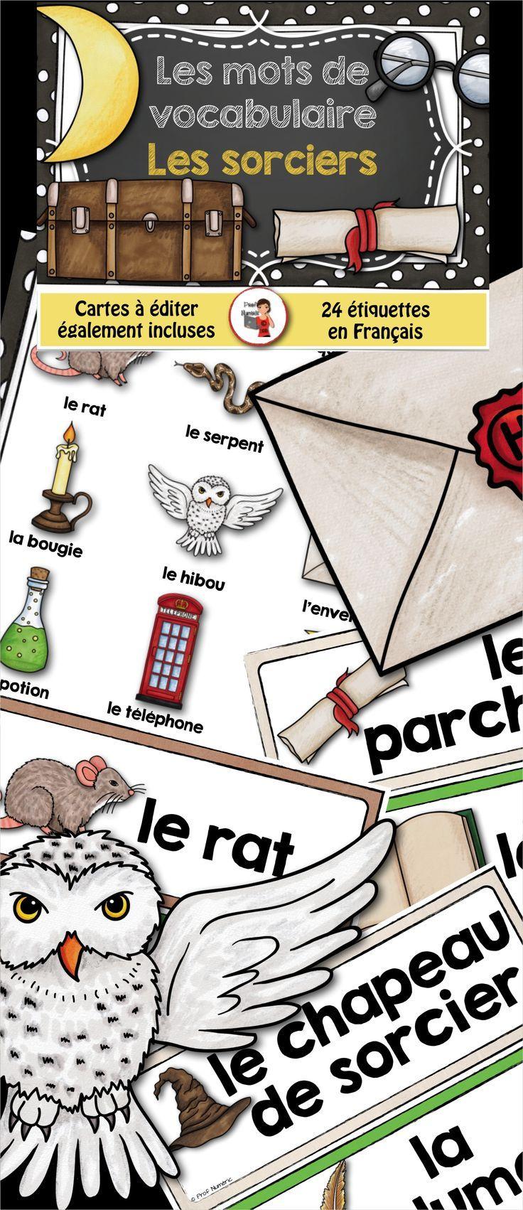 24 mots de vocabulaire reliés à la thématique des sorciers + 2 lexiques différents.