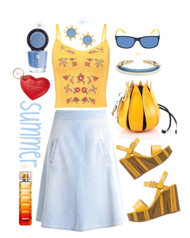 I love summer by amisha73 on Polyvore featuring moda, Elizabeth Locke, Alexis Bittar, Aspinal of London and HUGO