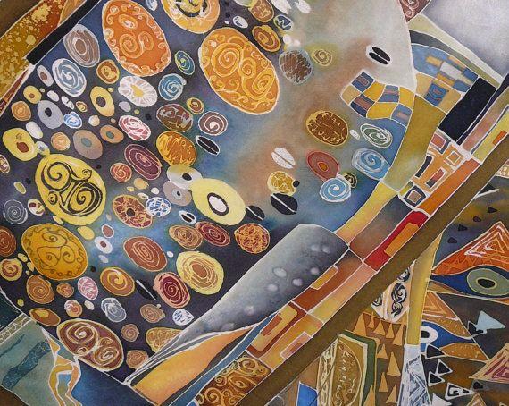 Hand painted silk scarf batik Klimt. Handmade silk by BatikNika