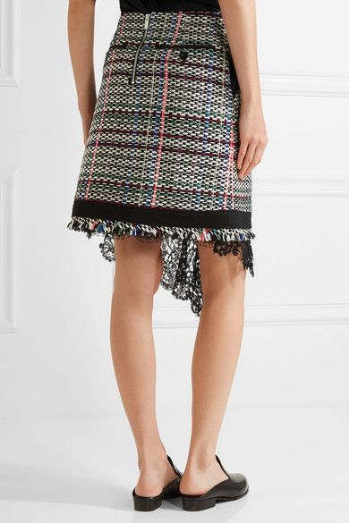 Sacai - Corded Lace And Twill-trimmed Tweed Wrap-effect Skirt - Black -
