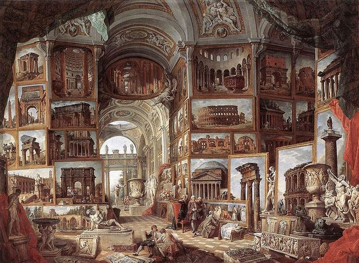 Roman Ruins and Sculpture (ca.1755), by Giovanni Paolo Pannini (1692–1765); Staatsgalerie, Stuttgart.