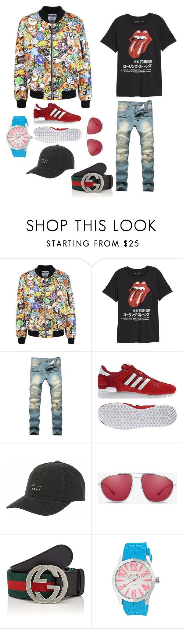 """Vitor Felisberto"" by madalenacaetano on Polyvore featuring Moschino, Public Opinion, adidas, Billabong, Bally, Gucci, Crayo, men's fashion and menswear"