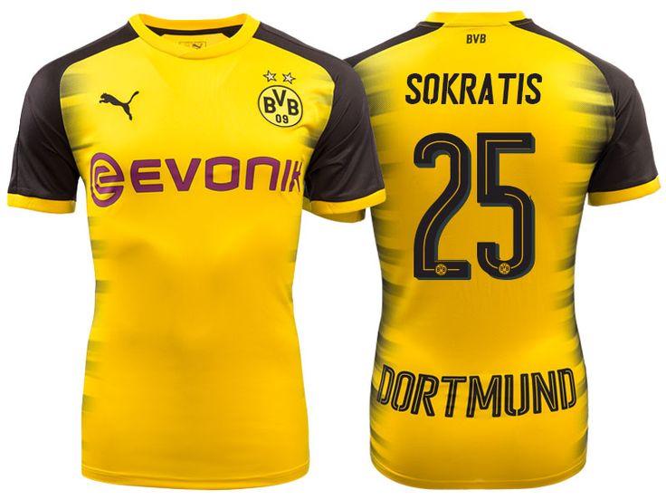 Men's Bundesliga Borussia Dortmund #25 Sokratis Papastathopoulos 17-18 Yellow Champions League Home Short Shirt