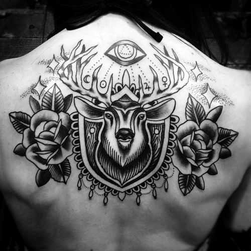Deer with roses and the all seeing eye tattoo tattoo for All in one tattoo