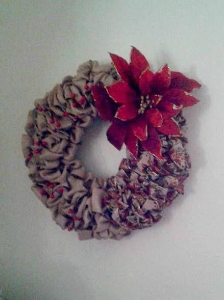 Burlap Ribbon Wreath / Red Poinsettia Wreath / CIJ  #EtsyCIJ  #CIJLovesJuly #OutdoorChristmasDecorations