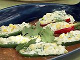 Grilled Stuffed Jalapeno Chiles with Grilled Red Pepper-Tomato Sauce Recipe. These are really good with Anaheim peppers.